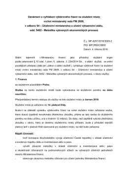 Oznámení VŘ vrchní ministerský rada v odboru 54