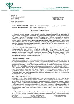 Zahájení správního řízení SR/0031/BE/2016 povolení výjimky