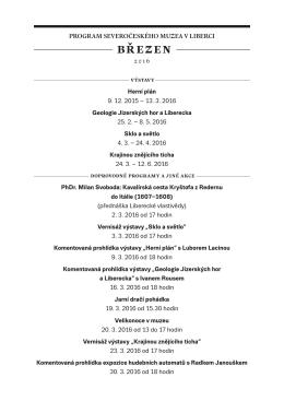 Program akcí SM na BŘEZEN 2016 - Severočeské muzeum v Liberci