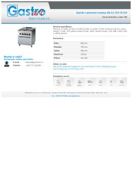 Sporák s plynovou troubou GN 2/1 CF4 78 G/P