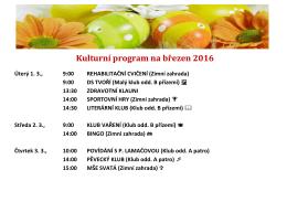 Kulturní program na březen 2016