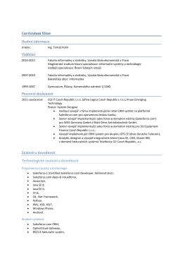 Curriculum Vitae Osobní informace Vzdělání Pracovní zkušenosti