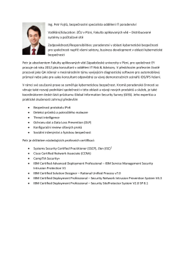 Ing. Petr Fojtů, bezpečnostní specialista oddělení IT