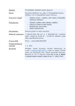 Nadpis Útvar Pracovní náplň Požadavky Poznámka Pracoviště