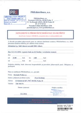 oznámení o přerušení dodávky elektřiny v ul. Střelničná