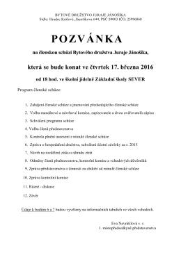 pozvánka - Bytové družstvo Juraje Jánošíka