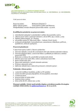 Pracovní místo: Referent účetnictví I Místo výkonu práce: Lesní