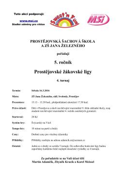 4. turnaj Prostějovské žákovské ligy je naplánován na středu 16