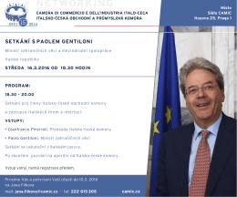 Pozvánka ministr Gentiloni - Camera di Commercio e dell`Industria
