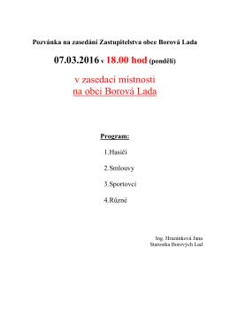 Pozvánka na zasedání OZ dne 07.03.2016