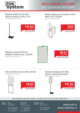 Akční nabídka výrobků - ZOK