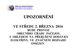 Omezení provozu Obecního úřadu Pačejov ve středu 2. března 2016