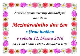Oslava MDŽ v sobotu 12. března 2016
