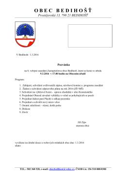 Pozvánka na zasedání OZ dne 09.03.2016