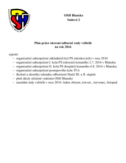 OSH Blansko Sadová 2 Plán práce okresní odborné rady velitelů na