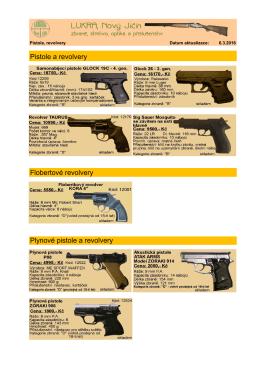 Pistole a revolvery Flobertové revolvery Plynové pistole a