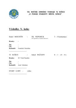 Výsledky V. kola - TJ Sokol Pačejov