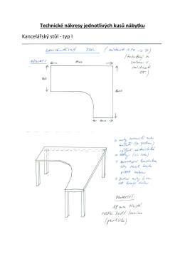 Technické nákresy jednotlivých kusů nábytku Kancelářský stůl