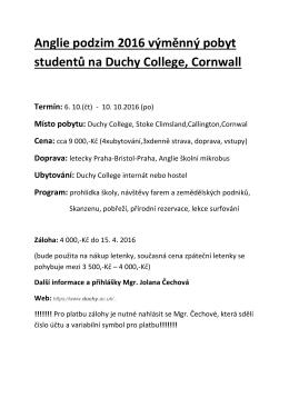 Anglie podzim 2016 výměnný pobyt studentů na Duchy College