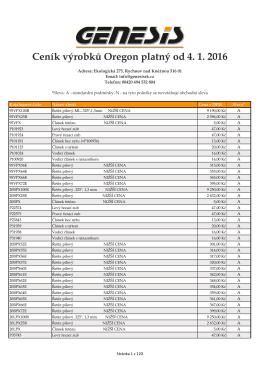 Ceník výrobků Oregon platný od 4. 1. 2016