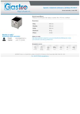 Sporák s indukčním ohřevem a skříňkou PCI 98 ET