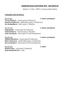 výsledky soutěže