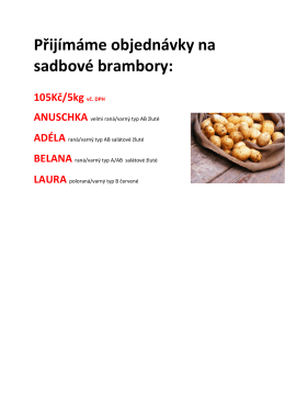 Přijímáme objednávky na sadbové brambory: 105Kč/5kg vč. DPH