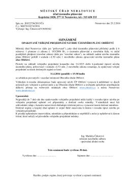 Oznámení - Opakované veřejné projednání návrhu ÚP Obříství se