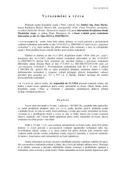 Krajský soud v Plzni - vyrozumění a výzva