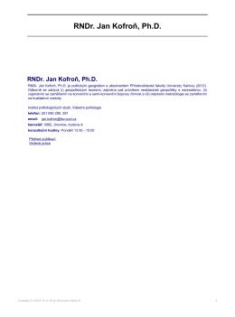 RNDr. Jan Kofroň, Ph.D. - Institut politologických studií