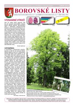 Vychází únorové vydání Borovských listů