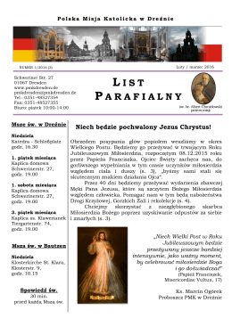 nowy List Parafialny - Polska Misja Katolicka