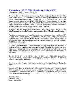 Komunikat z 02.03.2016 (Spotkanie Rady KSPT)