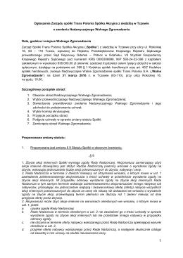 Ogłoszenie Zarządu spółki Trans Polonia Spółka