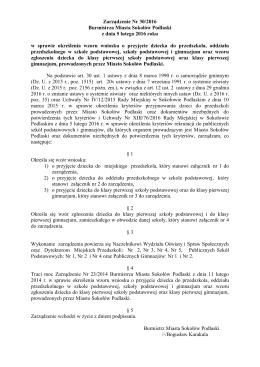 Zarządzenie Nr 30/2016 Burmistrza Miasta