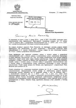 Odpowiedź Ministra Infrastruktury i Budownictwa