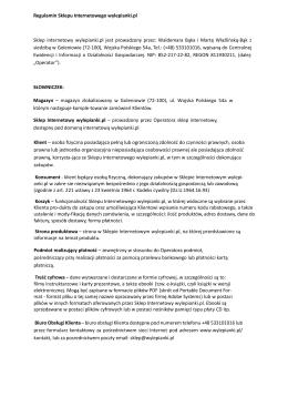 Regulamin Sklepu Internetowego wylepianki.pl Sklep internetowy