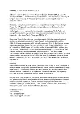 BOWIM SA: Nowy Prezes w PASSATSTAL Z dniem 1 września 2012