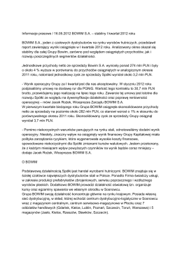 Informacje prasowe / 16.05.2012 BOWIM S.A. – stabilny I kwartał