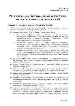 Zał. nr 3 do Umowy - Procedura administrowania