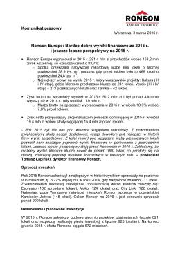 Komunikat prasowy Ronson Europe: Bardzo dobre wyniki