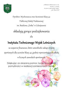 """Podziękowania - Szkoła Podstawowa im. Batalionu """"Zośka"""" w"""
