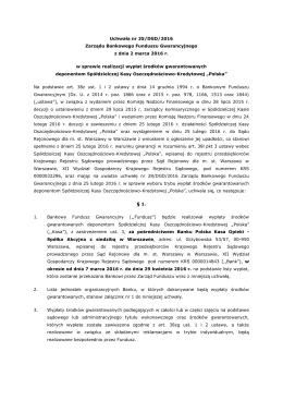 Uchwała nr 35 BFG w sprawie wypłaty
