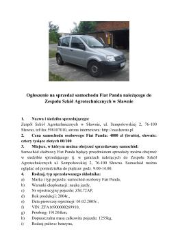 Ogłoszenie na sprzedaż samochodu Fiat Panda