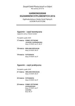 harmonogram egzaminów dyplomowych 2016