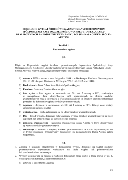 Załącznik nr 2. Regulamin wypłat środków gwarantowanych