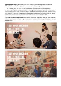 Studium Języków Obcych PW oraz organizacja EF EPI
