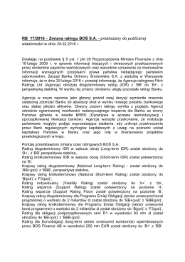 RB 17/2016 – Zmiana ratingu BOŚ S.A.