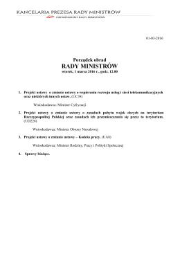 1 marca 2016 r. - BIP Rady Ministrów i Kancelarii Prezesa Rady