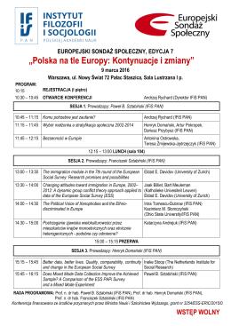 Poniżej program konferencji
